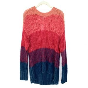 NWT AEO Color Block Crew Neck Open Knit Sweater S